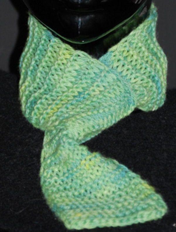 Garter Stitch Scarf Handpainted Merino Wool