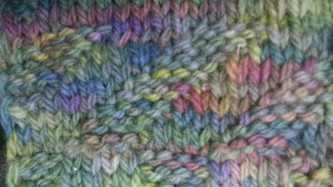 Diagonal Knit Purl Pattern with Handpainted Merino Wool